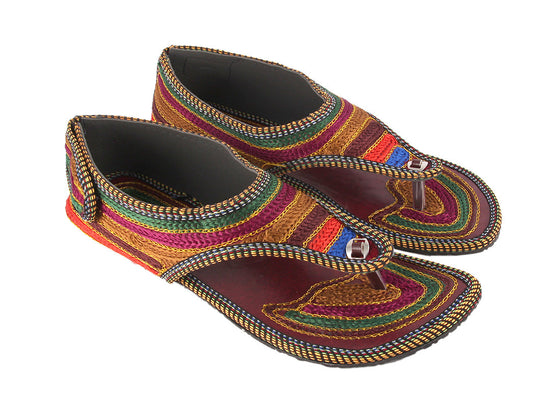 Multicolor Threadwork Flat Sandals