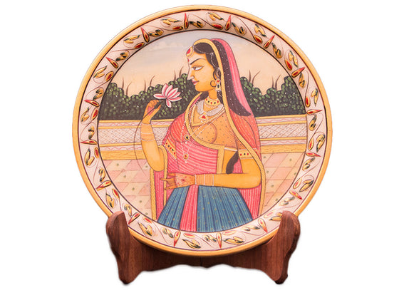 Mughal painting decorative marble plate