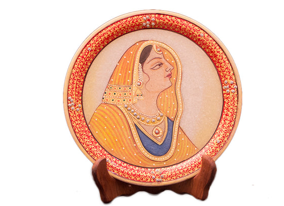 Handcrafted cut work meenakari marble decor plate