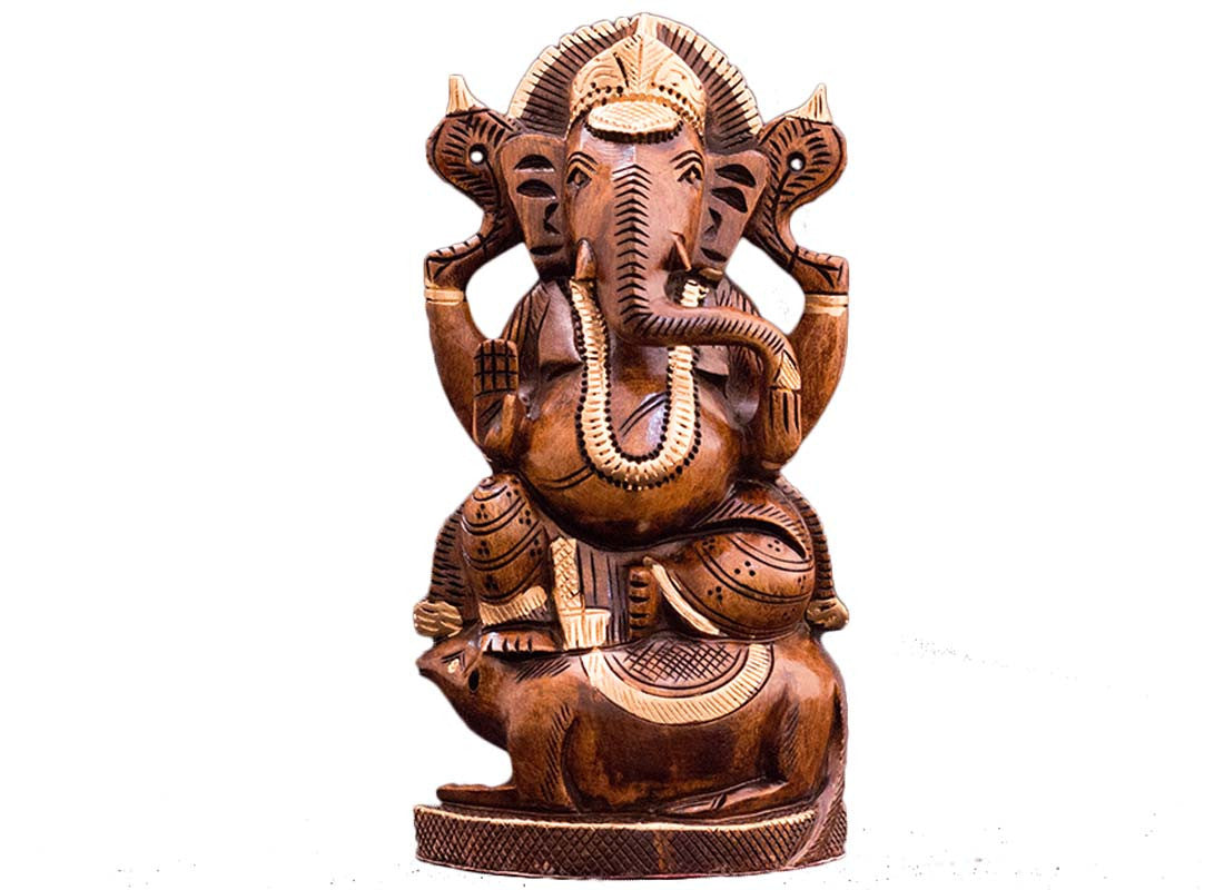 Carved wooden Ganesha