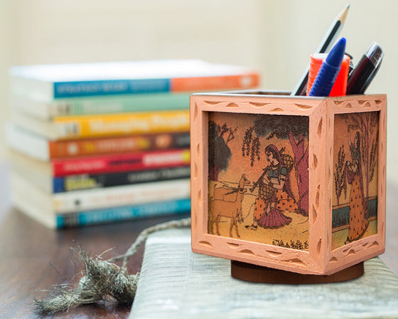 Bani Thani Design Wooden Stationery Holder