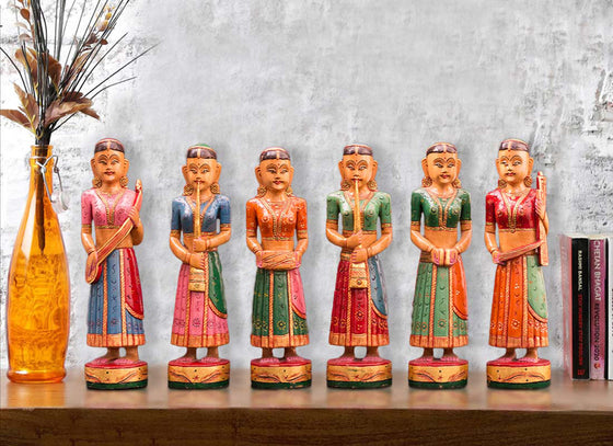 Colorful Wooden Musician Lady Figurines Set