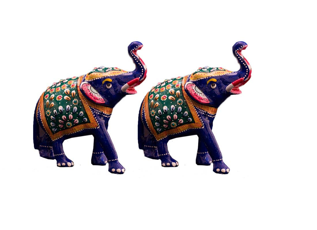 Meenakari elephant showpiece set