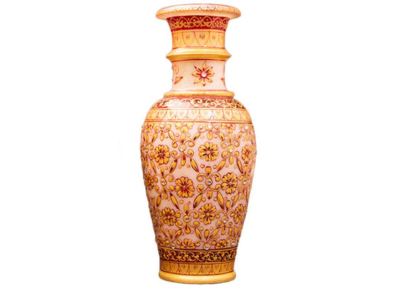 Golden floral design meenakari décor vase