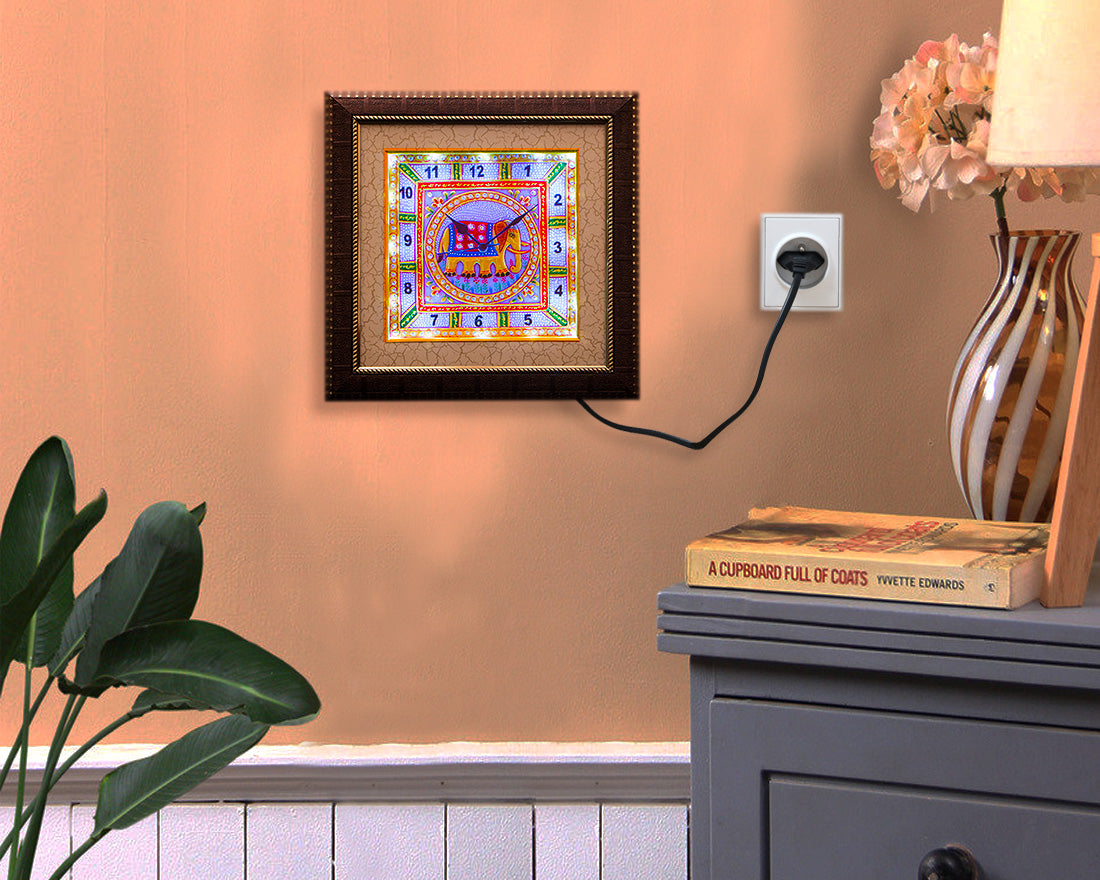 Designer Meenakari Art LED Wall Clock