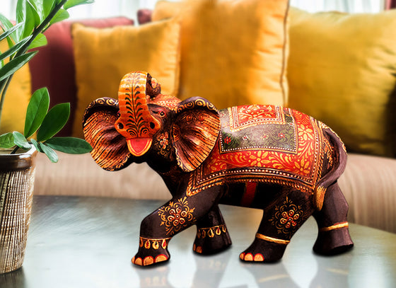 Hand-painted Royal Wooden Elephant Figurine