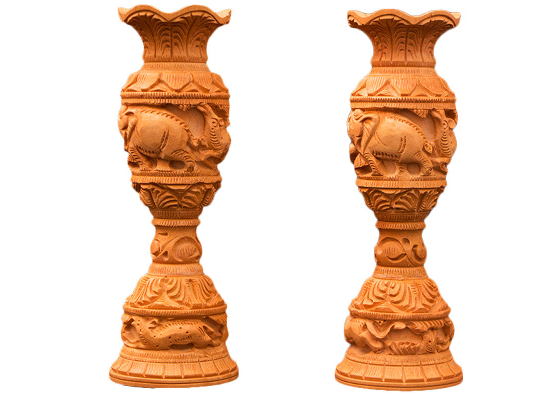 Decorative carved wooden vase