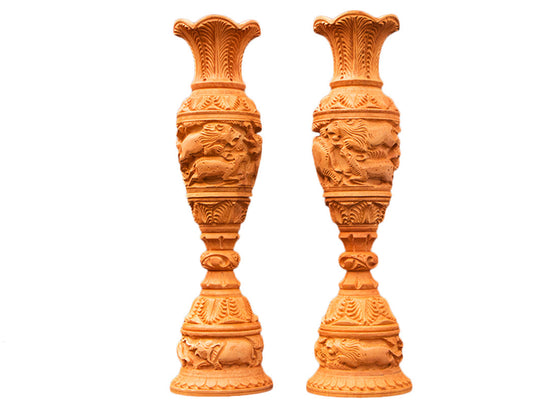 antique wooden design tall vase