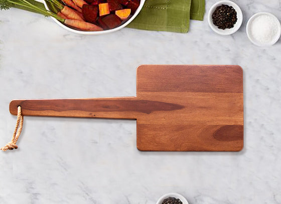 Square Serving Platter with Long Wooden Handle