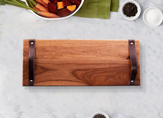 Wooden Serving Tray with Leather Handles