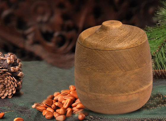Wooden Brown Canister with Lid