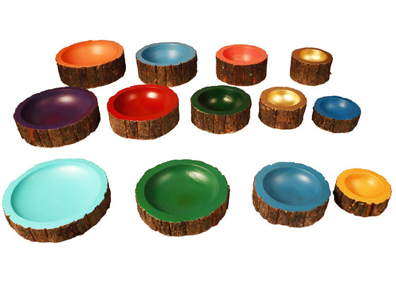 Colorful Wooden Serving Bowl Set of 13