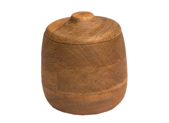 Wooden brown canister