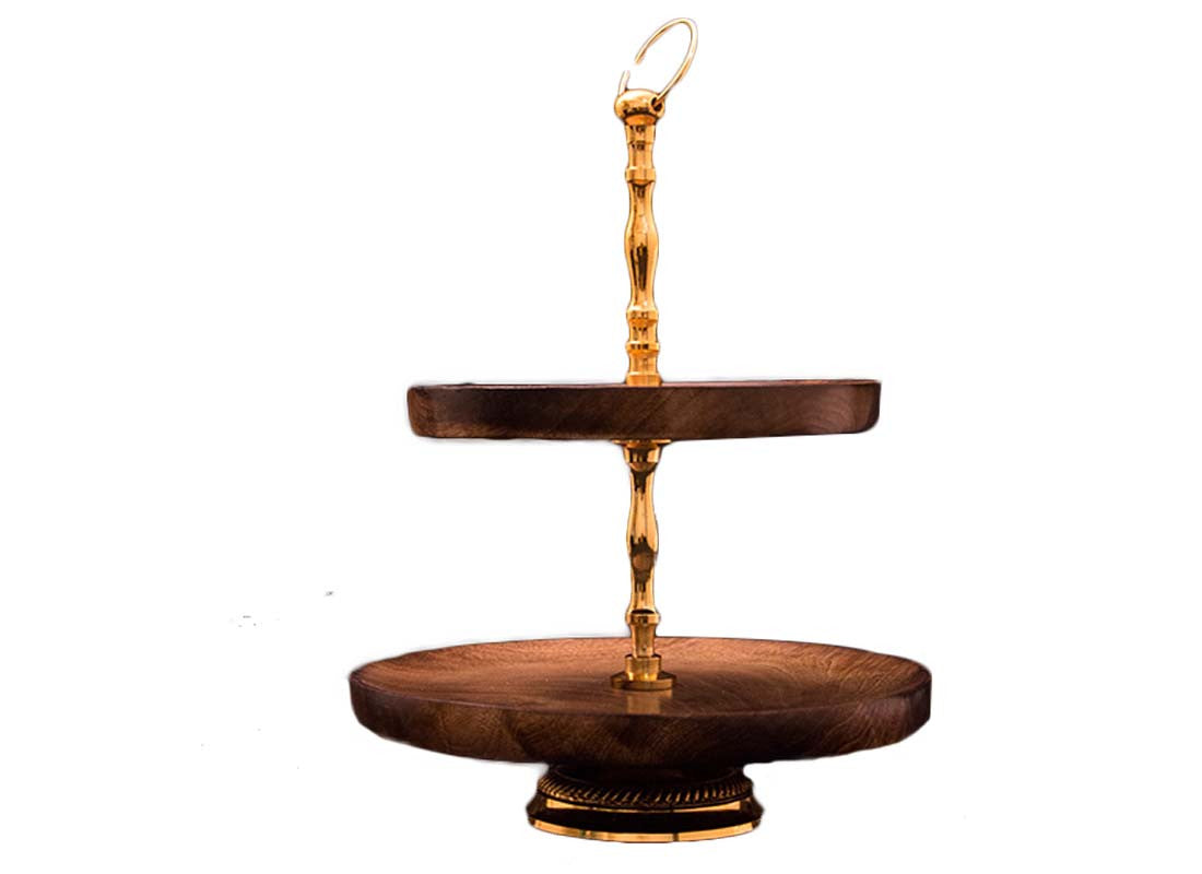Wooden 2tier cake serving stand