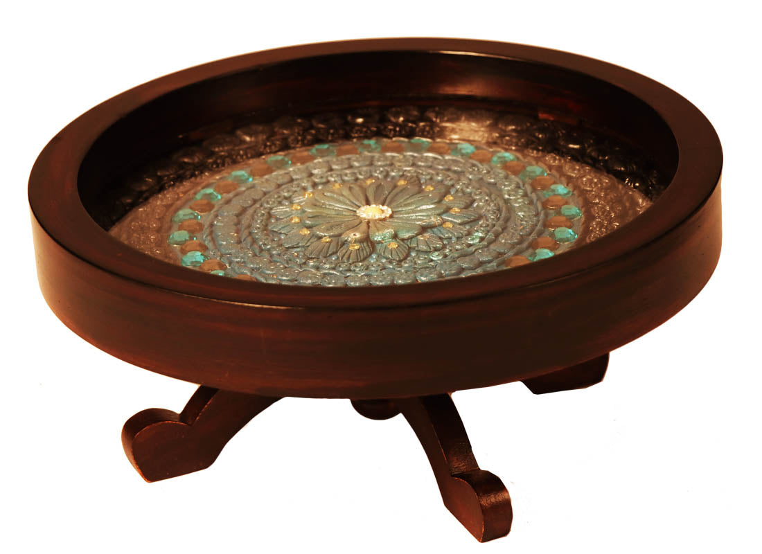 Ethnic Design Cake Serving Rotating Stand