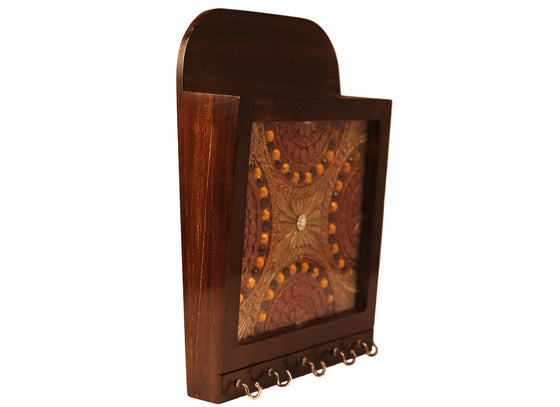 Indian Style Wooden Letter Box Key Holder