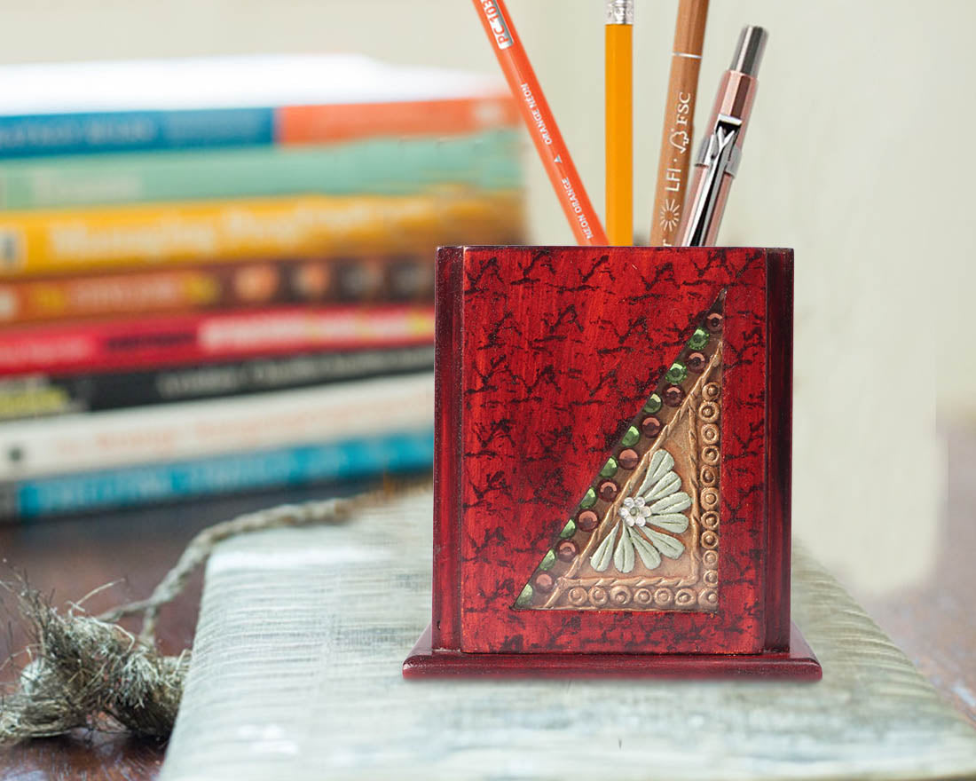 Handcrafted Paper Mache Art Wooden Pen Stand