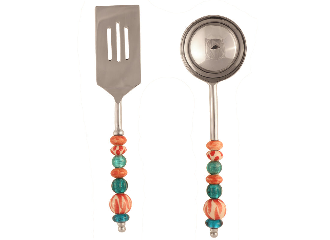 Glass Beaded Spatula and Ladle Set