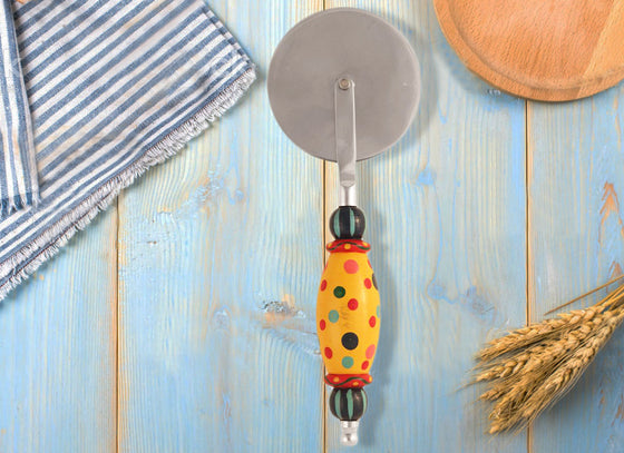 Yellow Wooden Handle Pizza Cutter