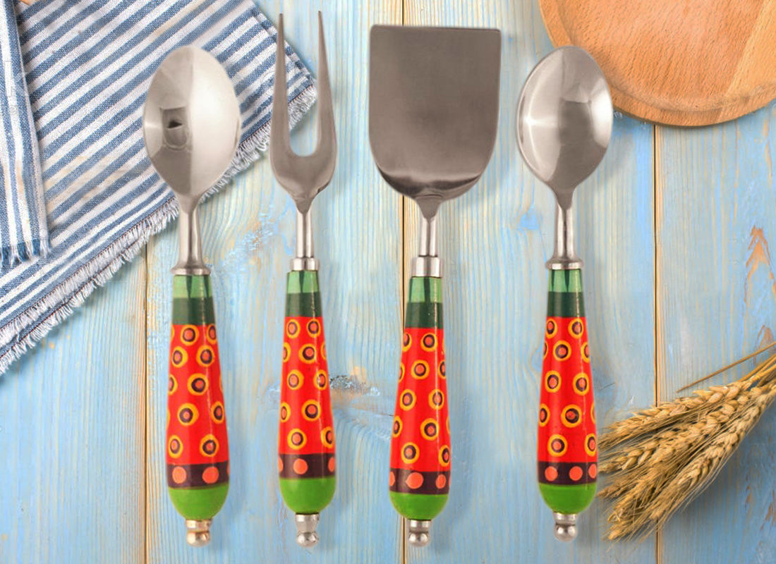 Ethnic Design Handle Cheese Serving (Set of 4)