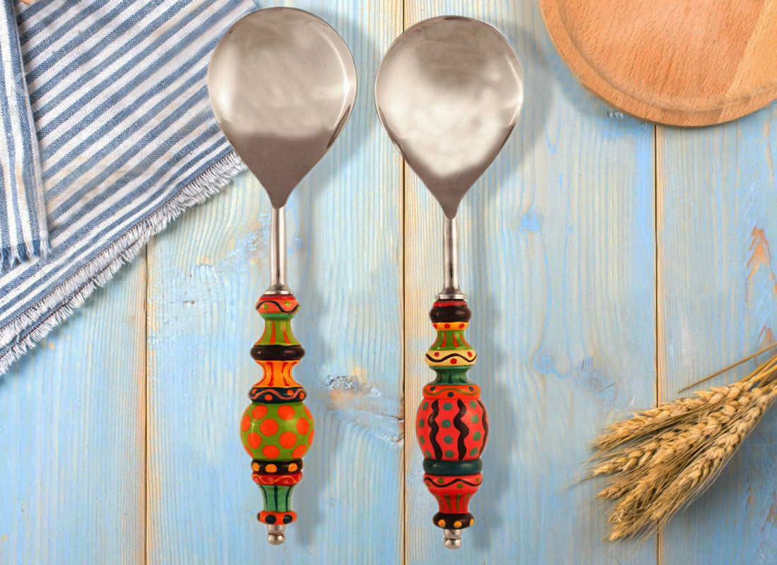 Colored Wooden Handle Serving Spoon (Set of 2)