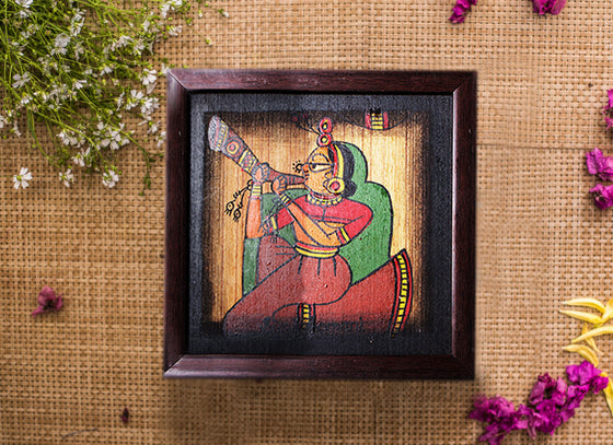 Rajasthani Lady Musician Playing Shenayi Phad Painting