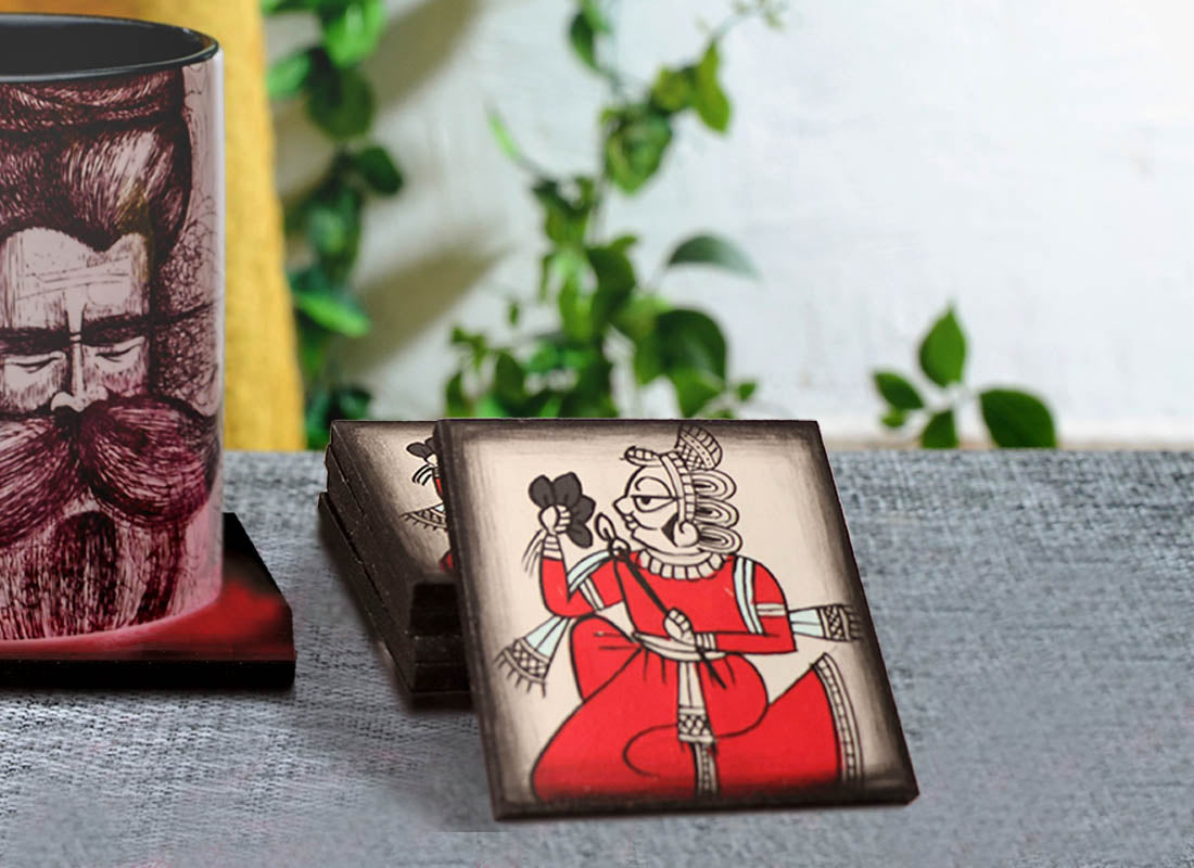 Hand-painted Phad Art Wooden Coaster Set