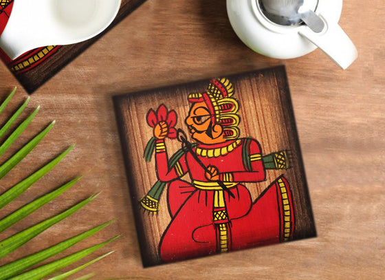 Wooden Phad Art Coaster Set with Stand