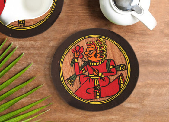 Rajasthani Phad Design Round Coaster Set with Stand