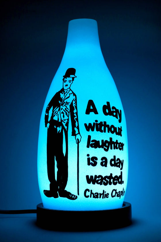 Charlie Chaplin design glass table lamp