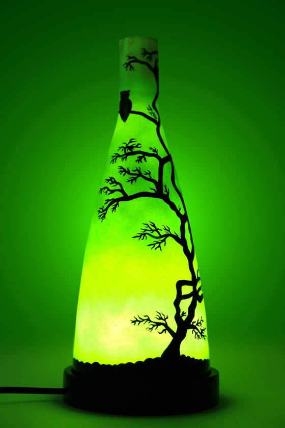 Green glass handcrafted table lamp