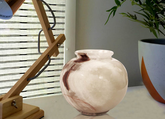 Decorative Brown Stripe Onyx Marble Pot