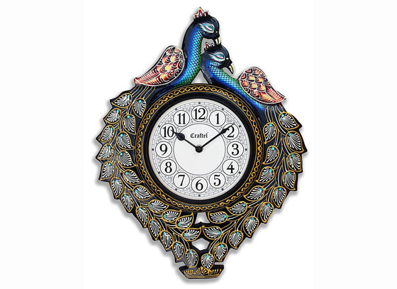 Handcrafted Antique Peacock wall clock