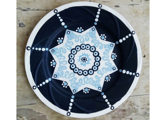 Cobalt blue Turkish dotted wall plate