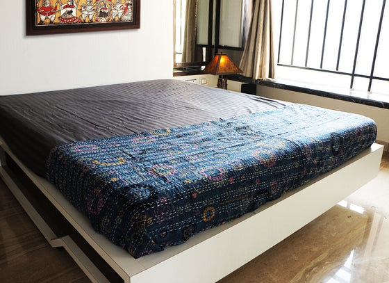 Cotton Hand Woven Blue Kantha Bed Sheet