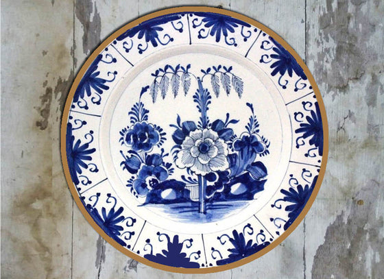 Azure Floral Ceramic Wall Decor Plate