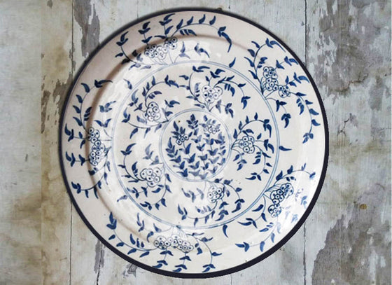 Blue and White Ceramic Wall Decor Plate