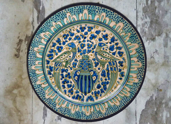 Turquoise Blue Peacock Design Dutch Wall Plate