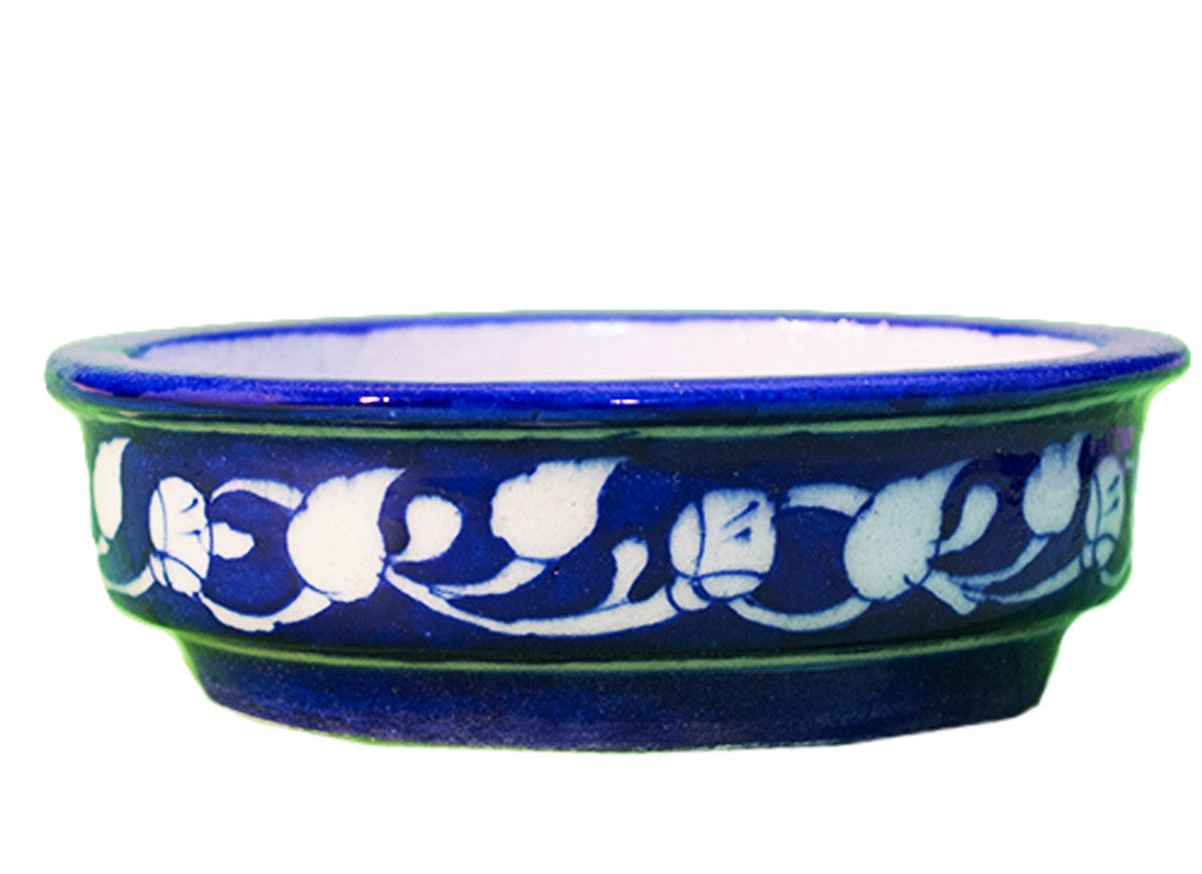 Decorative blue pottery planter