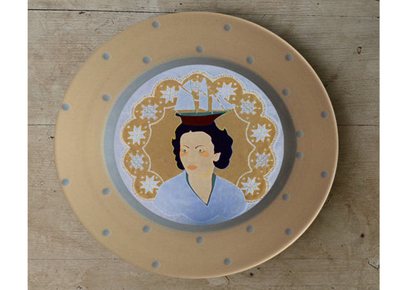 Decorative hand-painted ceramic wall design plate