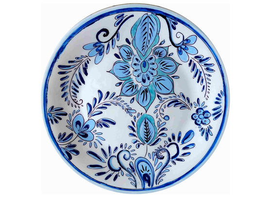 Delft blue and white floral wall plate