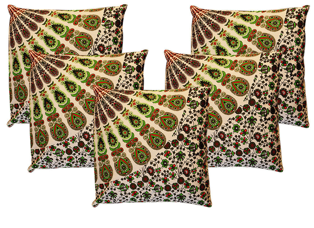 Dome print green cushion covers