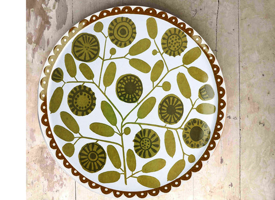Earthy color floral wall hanging plate