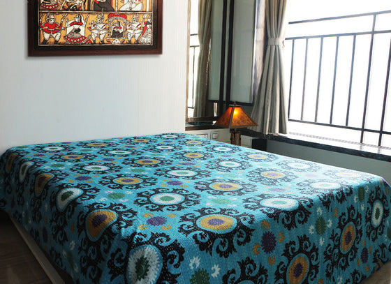 Ethnic blue handmade decorative bed sheet
