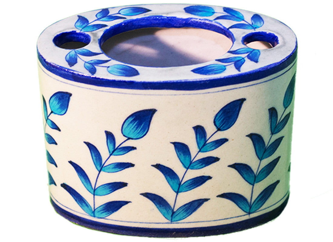 Ethnic blue pottery tooth brush holder
