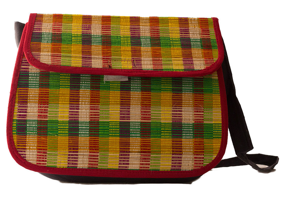 Ethnic checkered bamboo sling bag