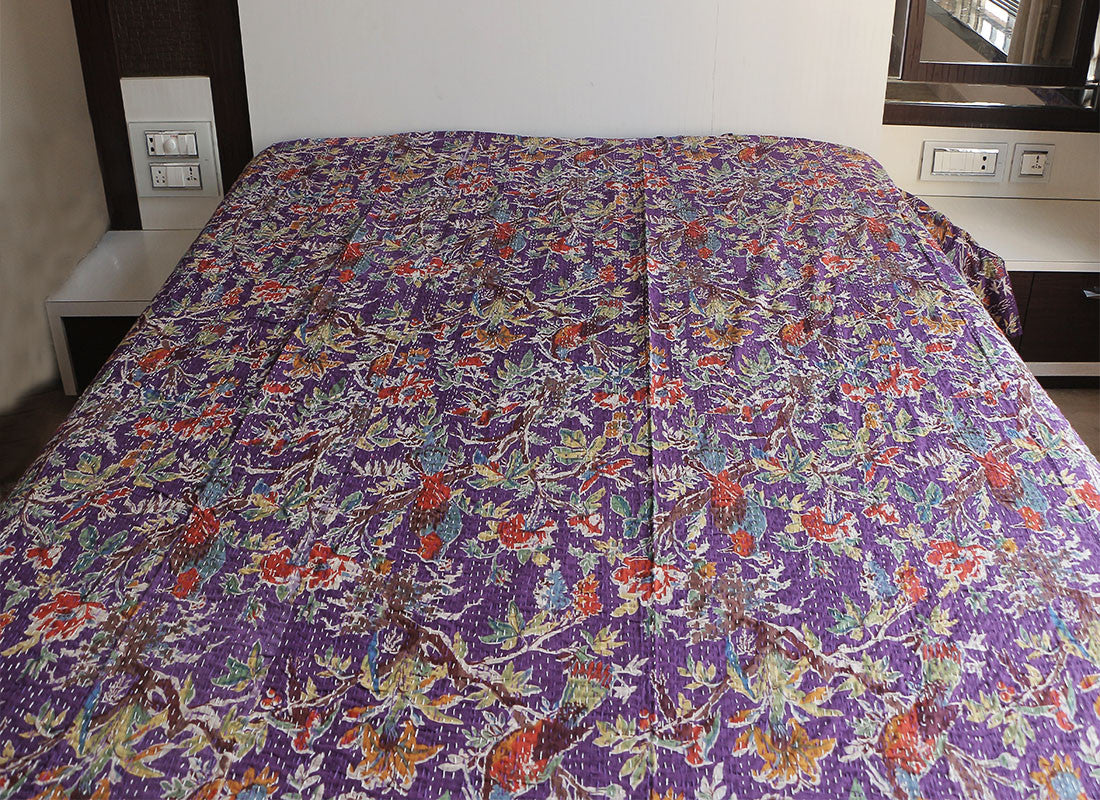 Ethnic hand woven floral bed sheet