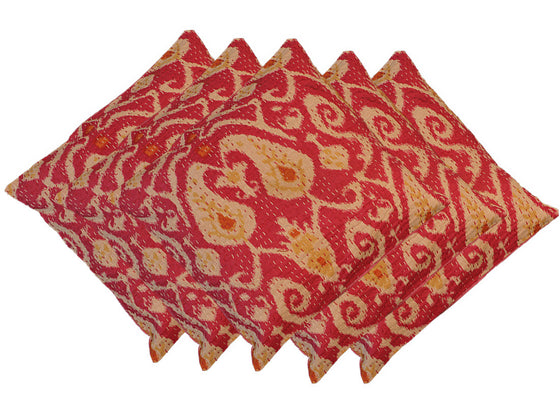 Ethnic pink kantha cushion covers