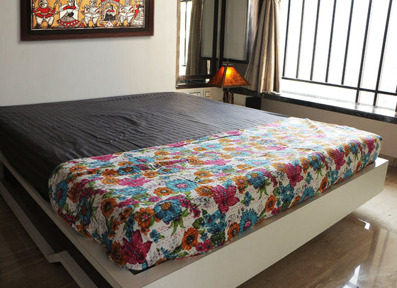Floral handmade multicolor decorative bed sheet