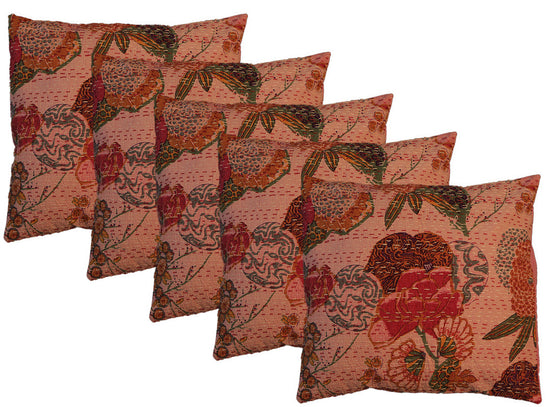 Floral Print Kantha Work Cushion Covers